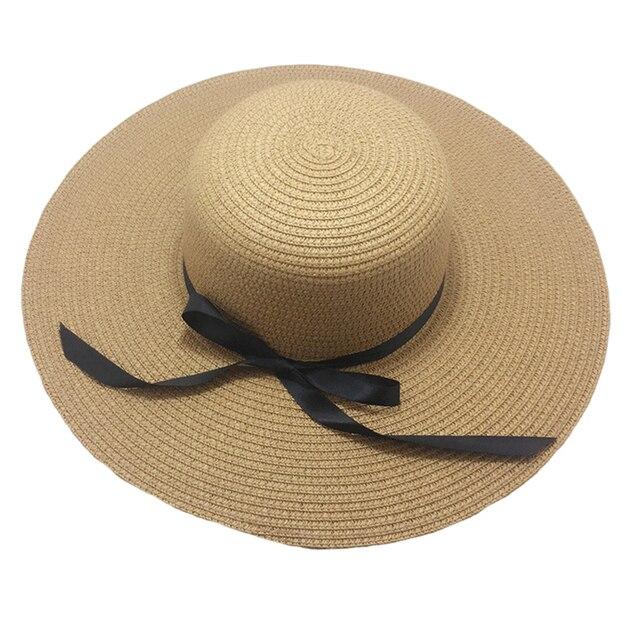 Plegable mujeres señora Sol paja sombrero grande ancho BRIM Floppy Derby  verano playa vacaciones Floppy Cap d3332a233d6