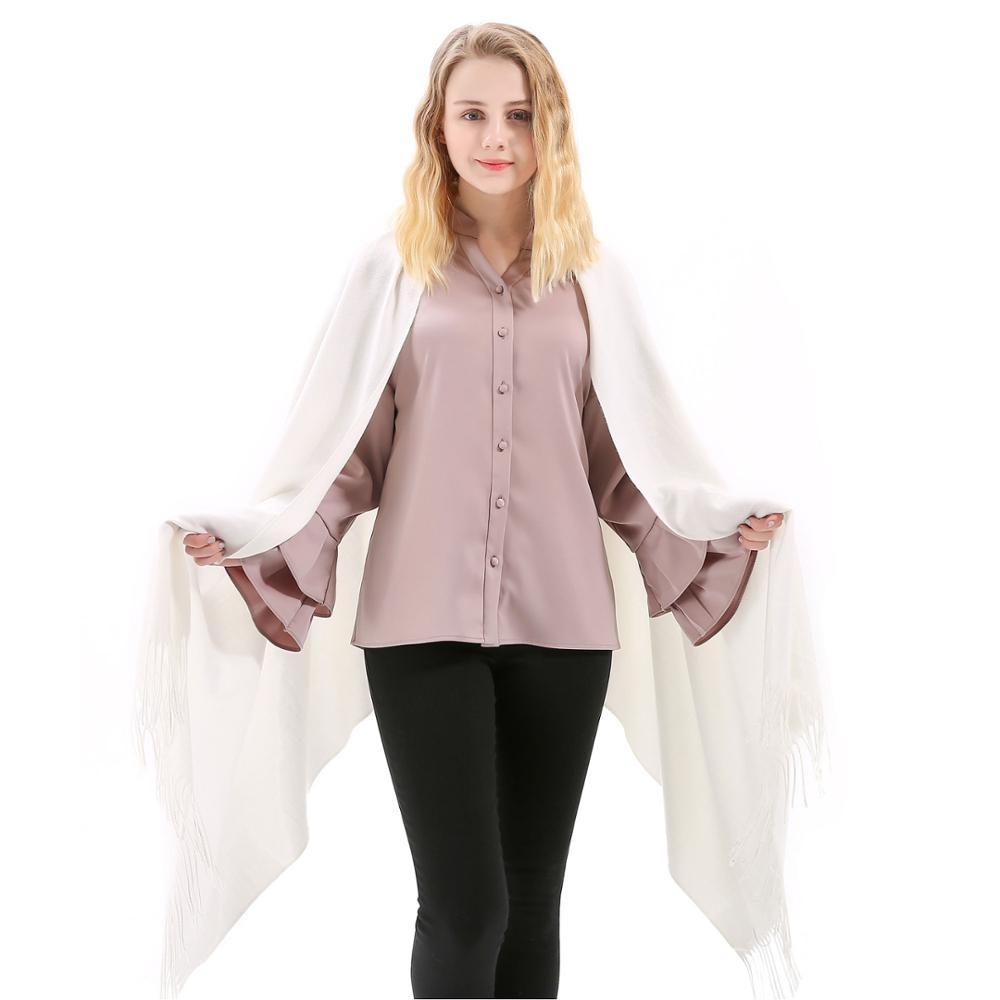 Fashion Cashmere   Scarf   Shawl Solid Autumn Winter   Wrap   Warm High Quality Soft Hijab Thick Lady Women Pashmina Luxury Wool White