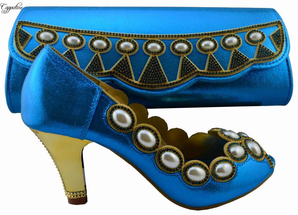 Il prezzo all'ingrosso Africano pompa tacco alto scarpe di corrispondenza con insiemi del sacchetto con la perla per la signora 1308-L59 nero, tacco 8 cm