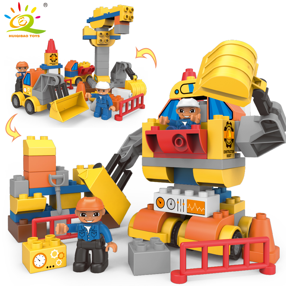 63pcs Transform Engineering bulldozer Robot Big Size Building Blocks Compatible Legoed Duploed City DIY Bricks Toys For Children engineering excavator vehicles bulldozer model building blocks compatible legoed city construction enlighten bricks children toy