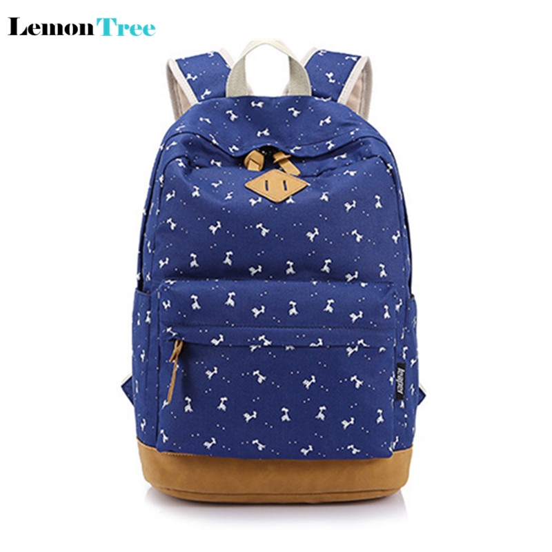 (Ship From United States) fresh style printing school backpacks for teenage girls canvas women travel Female escolar mochila
