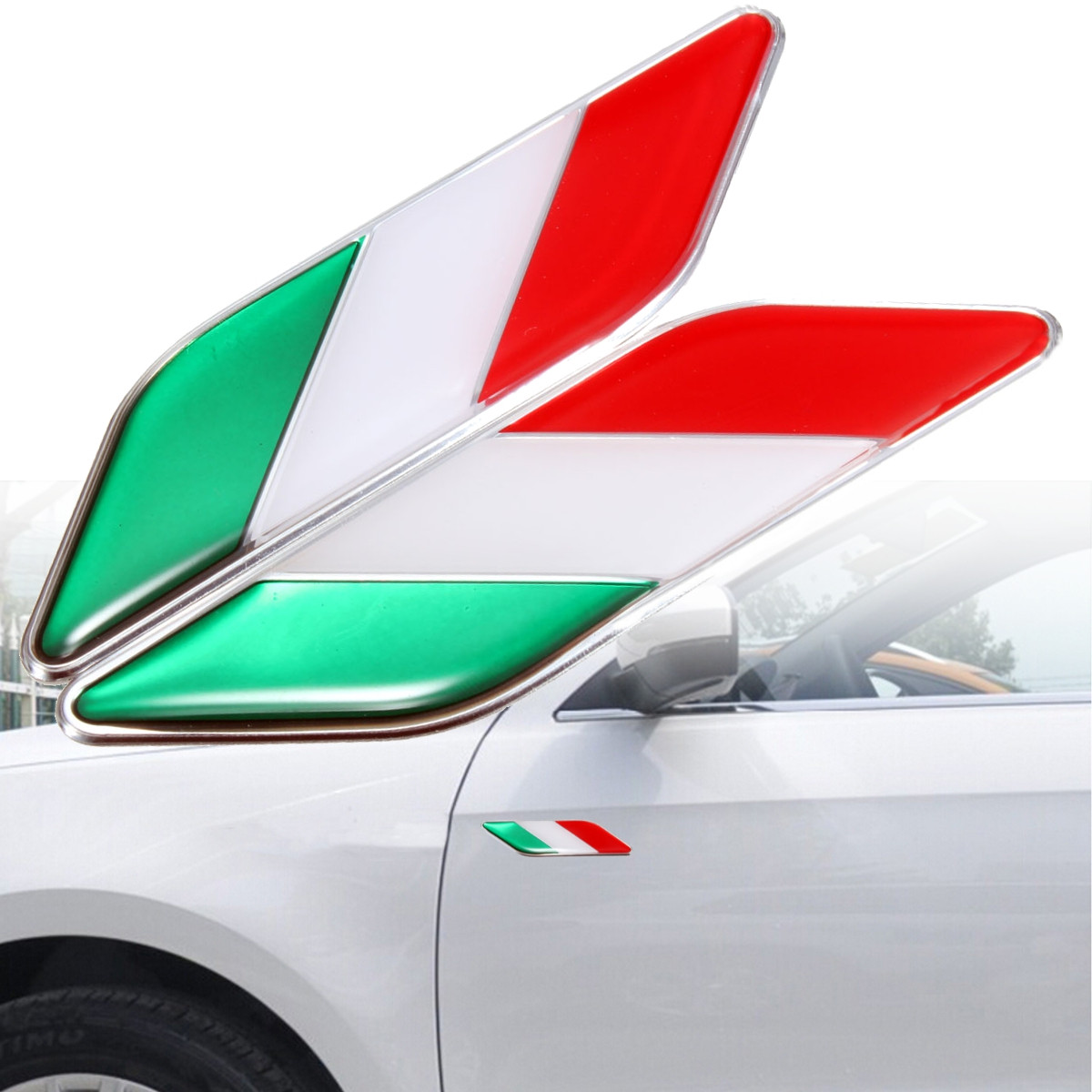 Design car flags - Pair 3d Italian Italy Flag Stickers Badge Emblems Decal Decor For Ferrari Fiat Car