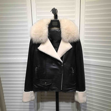 2018 Fall winter women sheepskin leather jackets Chic Real fur collar Short coat D845