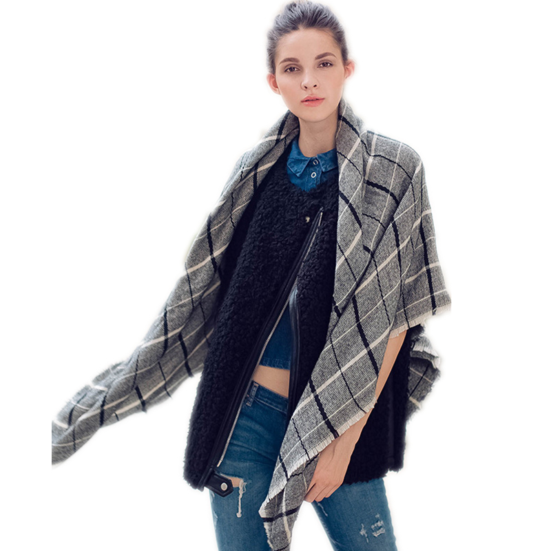 540dfb540d1 US $11.68  Grey Plaid Blanket Scarf Bandana Large Square Scarves Women  Black Grey Checked Winter Shawls and Wraps-in Women's Scarves from Apparel  ...