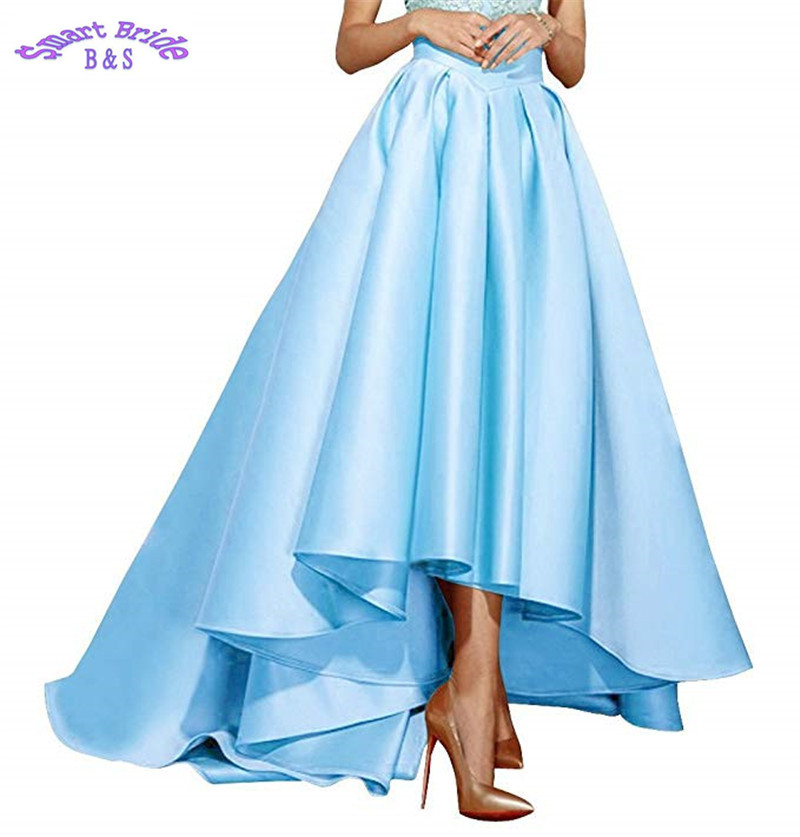 Cocktail Party Dresses 2019 Satin High Low Birthday Prom Skirts Empire Waist Pleated Skater Dress Vintage A Line Cdress 1 Cocktail Dresses