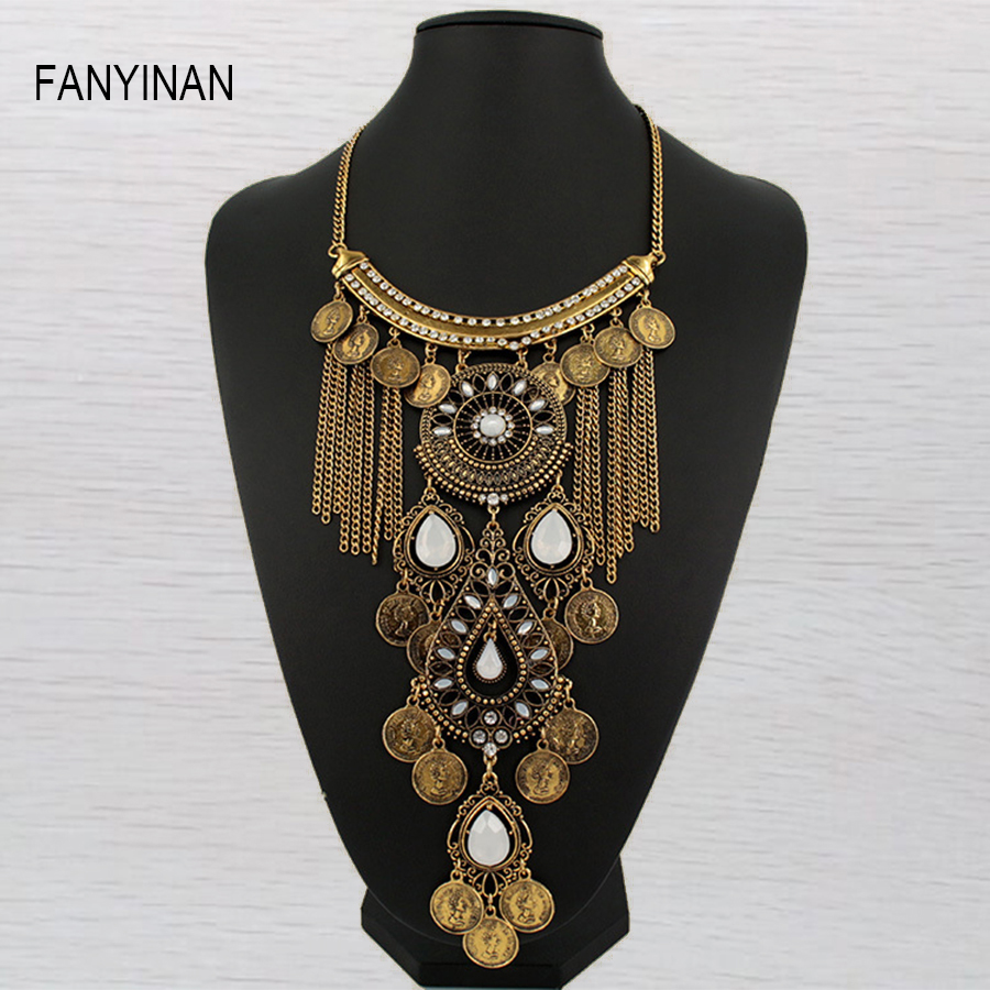 JIANXI long chain Fashion Jewelry Vintage coin Neck Bib Collar Chokers Statement Necklaces & Pendants women Evening party