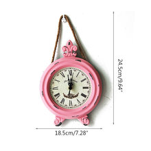 Antique Wooden Clock Quartz Clock Wooden Handicraft Clock Home Wall Hanging Decoration Wall Hemp Rope Round Small Wall Clock(China)