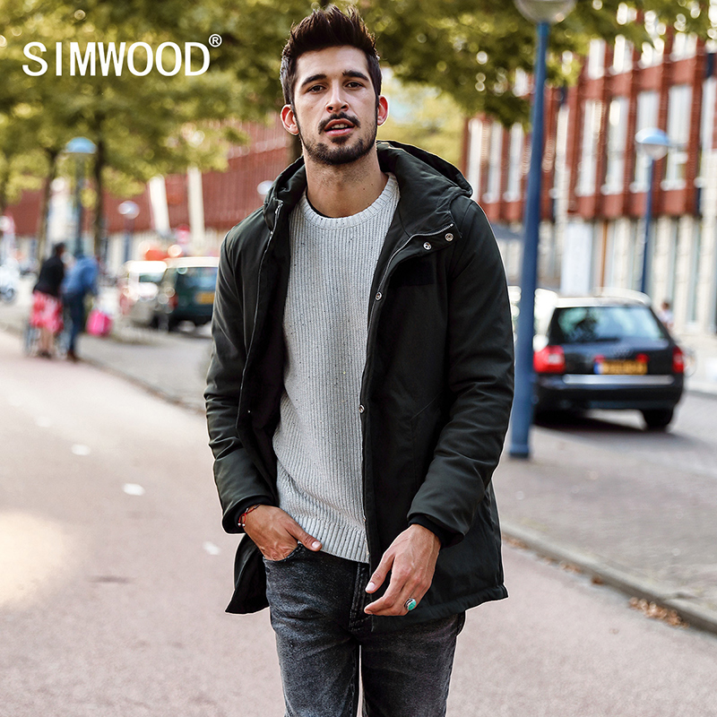SIMWOOD 2018 Winter Coats Men Slim Fit Warm   Parka   Fashion Winter Jackets Male Plus Size High Quality Brand Clothing MC017001