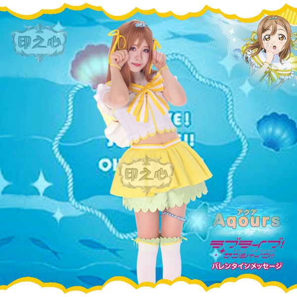 Aqours love live sunshine Kunikida Hanamaru Cosplay Costume Christmas New Year Dress Shirt skirt Socks Bowknot Headdress in Anime Costumes from Novelty Special Use