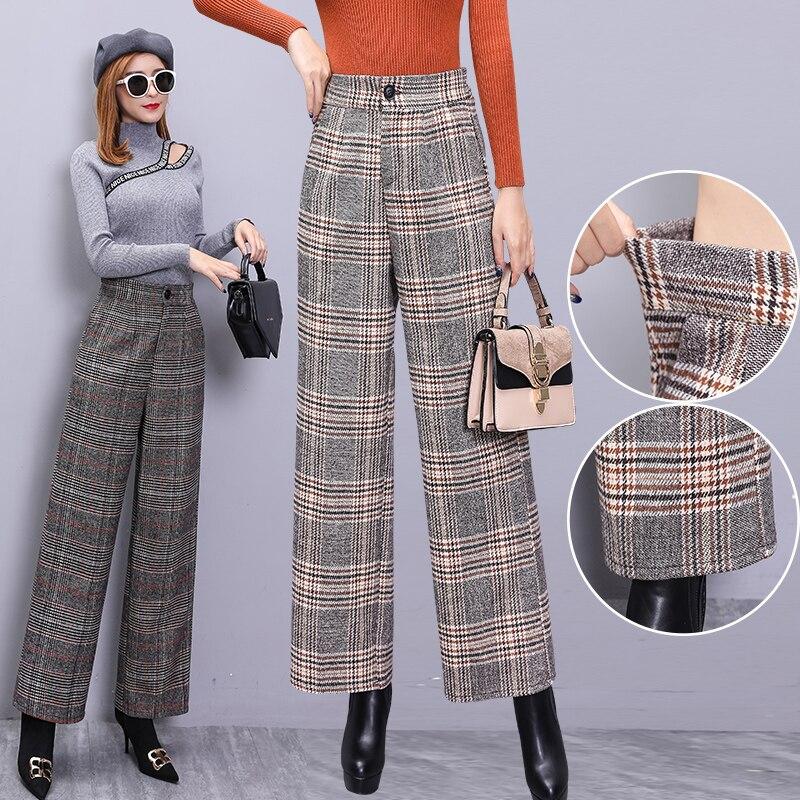 Vintage Elegant High Waist Plaid Trousers Women Autumn Winter Thick Wool Wide Leg Pants Ladies Casual Pantalon Palazzo Mujer