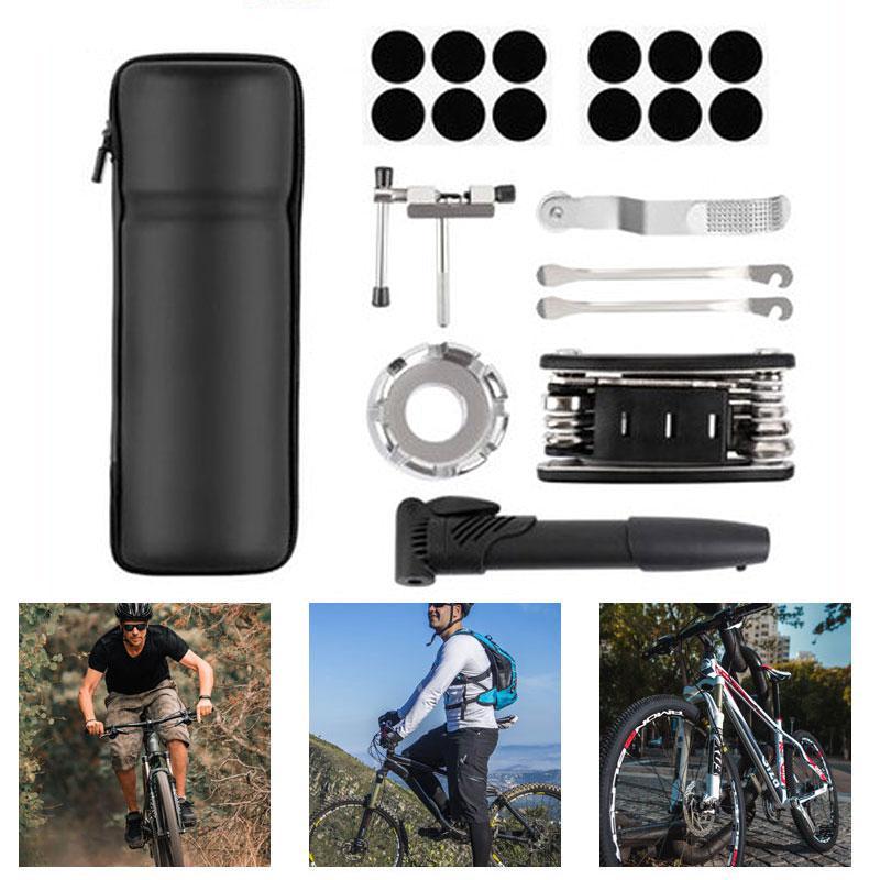 Portable Bicycle Repair Tool Bag with Mini Bike Pump Multi function Bicycle Tool