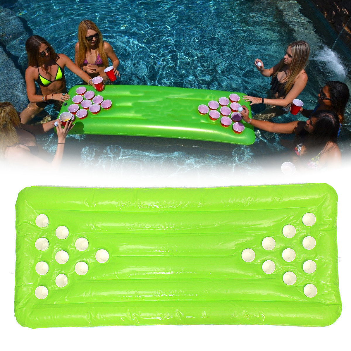 PVC Inflatable Beer Pong Table 22/20 Cup Holes Water Floating For Pool Party Drinking Game Inflatable Beer Pong Table