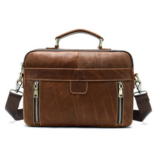 Mens leather tote Cross-body casual briefcase Vintage top layer large-capacity shoulder bag
