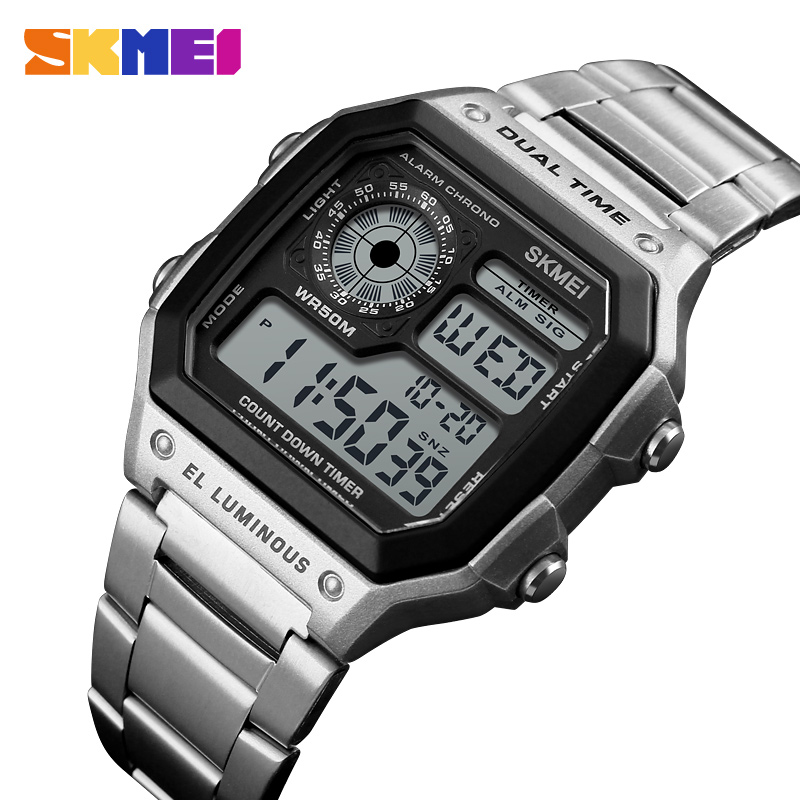 Sports Watches Men Count Down Waterproof Watch Stainless Steel Band Fashion Creative Digital Wristwatches Clock For Ronan Matos