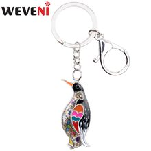 WEVENI Ocean Collection Animal Enamel Penguin Key Chain Women keychain Gift For Girl Pendant Key Holder Car key Charms Jewelry(China)