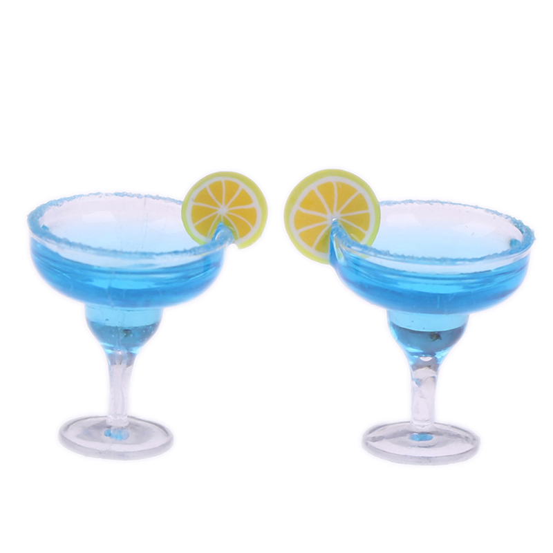 2Pcs Mini Resin Cocktail Cup Simulation Drink Glass Model Toy Doll House Decoration Scale 1/12 Dollhouse Miniature Accessories