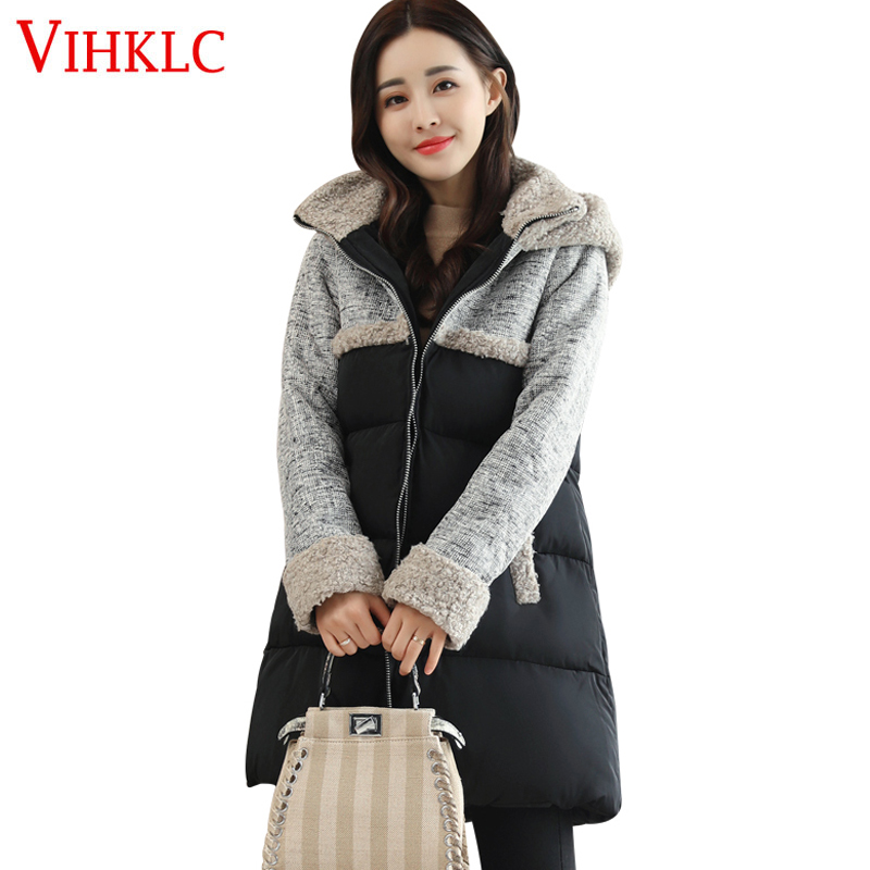 Jackets & Coats 2018 New Winter Korean Thick Warm Fashion Hooded Solid Cotton High Quality Female Jacket Women Parkas Coat H811