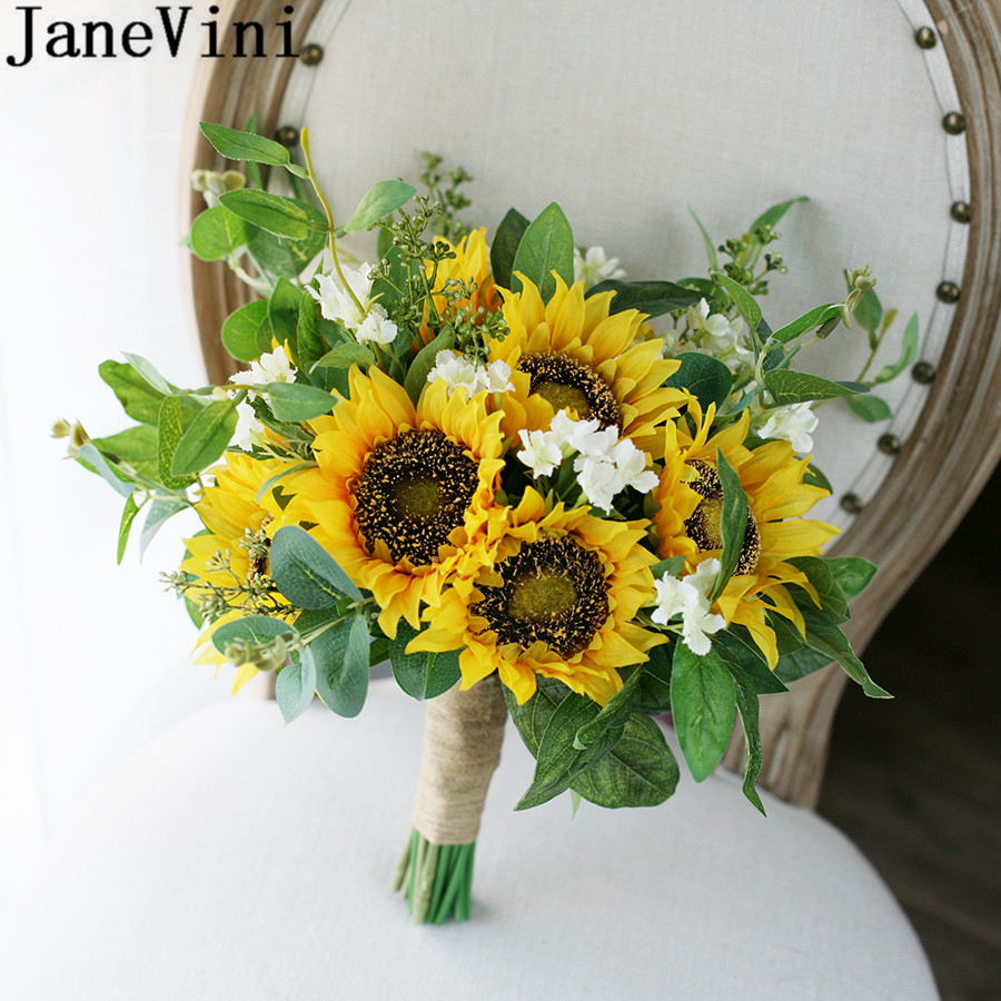 Inexpensive Flowers For Wedding Bouquets: Aliexpress.com : Buy JaneVini Beautiful Sunflower Bridal