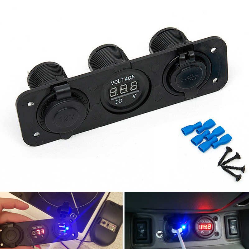 3 Port Car Charger Motorcycle Plug Dual USB Adaptor + 12V/24V Cigarette Lighter Socket Blue LED +Digital Voltmeter Mobile Phone