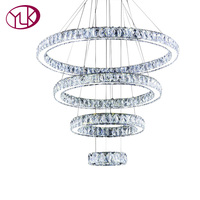 High Quality Modern LED Crystal Hanging Light 4 Circles Chandelier Lighting Lustre Home Decor Round Cristal