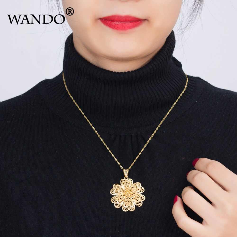 WANDO éthiopien à la mode fleur pendentif et collier 24 k couleur or africain/arabe/soudan/moyen-orient femmes filles bijoux cadeau P8