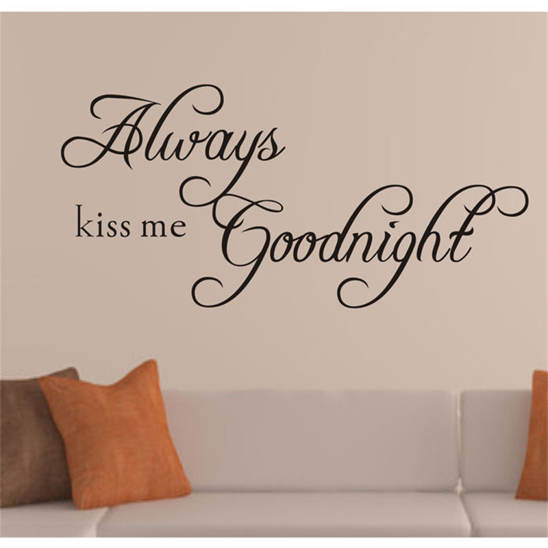 55x25CM Always Kiss Me Goodnight Peel Stick Wall Stickers Decals Wall  Stickers Living Room Bedroom TV Wallpaper Photo Wall Mural Part 80
