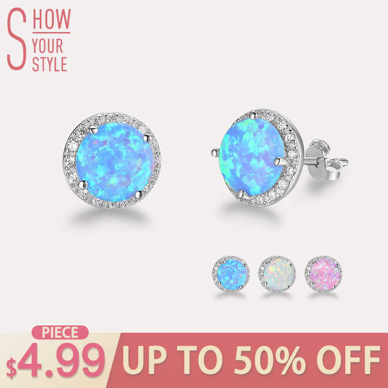 5005e8cfb Classic 925 Sterling Silver Stud Earrings Round White Pink Blue Opal  Earrings with Cubic Zirconia Jewelry