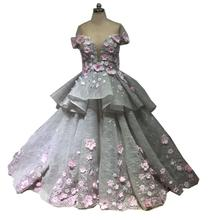 Diousha Lace Hand Made Flower Floor length dress Ball Gown