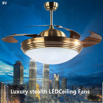 Wholesale modern luxury led stealth Ceiling Fans creative remote control fan lights