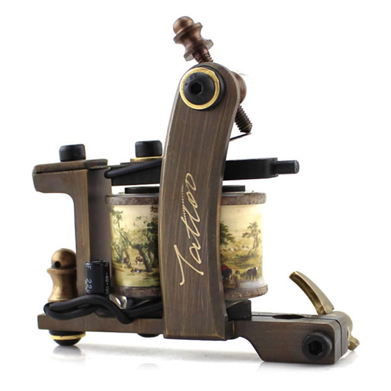 2018 New Handmade Whole Wire Cutting Permanent Copper Machine Tattoo Machine 12 Wraps Coil Tattoo Gun For Liner Free Shipping