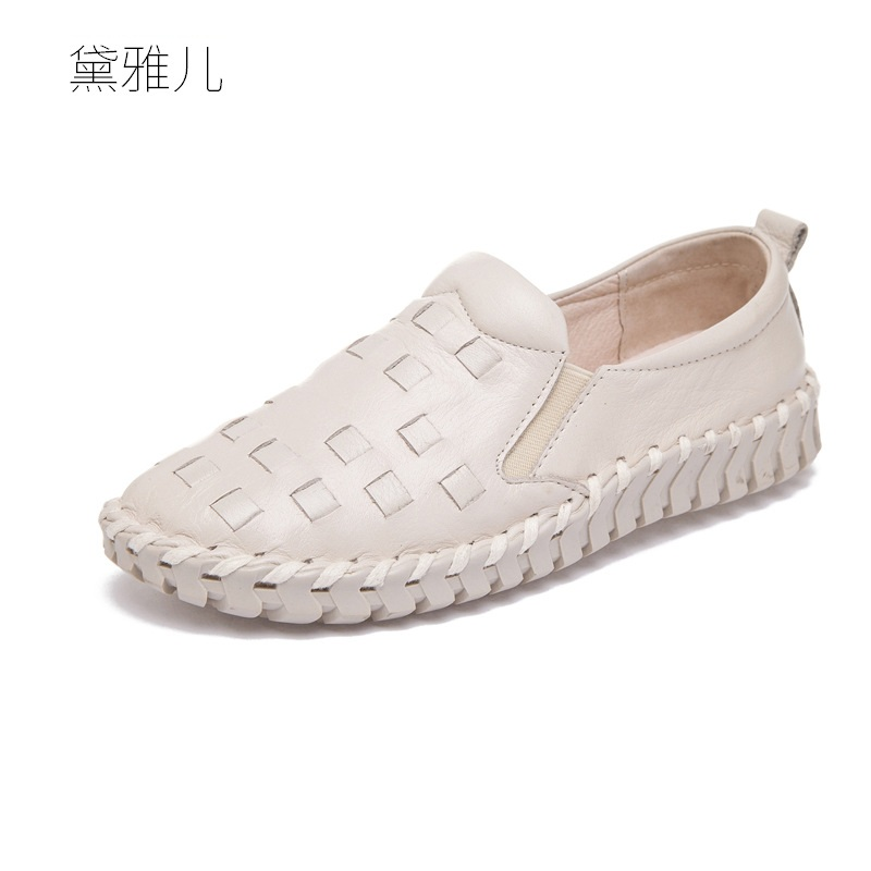 White Weave Fashion Loafers Handmade Genuine Leather Shoes Women Comfortable 2018 Summer Ladies Spring Autumn Woman Flats Girl 2017 autumn fashion real leather women flats moccasins comfortable summer ladies shoes cut outs loafers woman casual shoes st181
