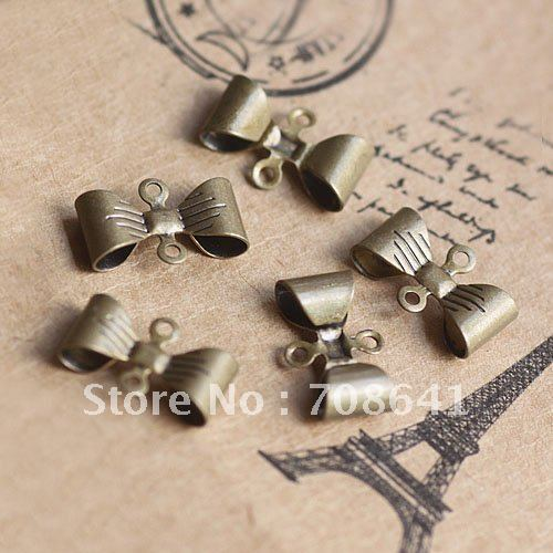 Free Shipping 7x12mm Antique Bronze Copper Pendant 2-loop Holes Connectors Bow Charms for Diy Jewelry Bangle Earrings Wholesale
