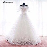 Princess Wedding Dresses Boat Neck Lace Appliqued Ball Gown Court Train Bridal Dresses Robe De Mariage