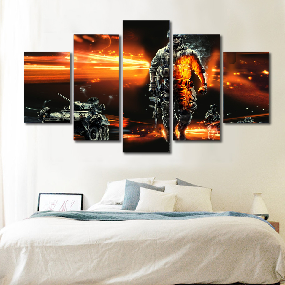 Hd printed firefighters soldiers tanks painting canvas for Room decor canvas