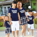 Free Shipping Summer Plaid Family mother daughter Dresses father son t shirt Shorts Sets girls boys Tees Pants Family Outfits
