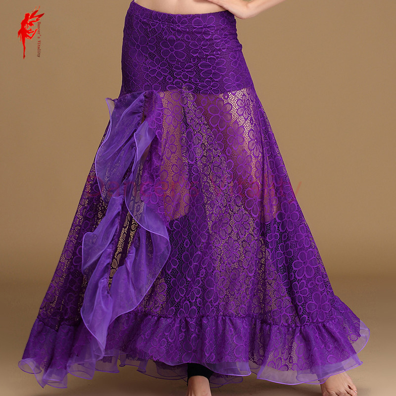 Sexy Belly Dance Skirt Women Belly Dance Lace Long Skirt Girls Belly Dance Clothes Split Skirt Fashion Long Skirt Mint,purple
