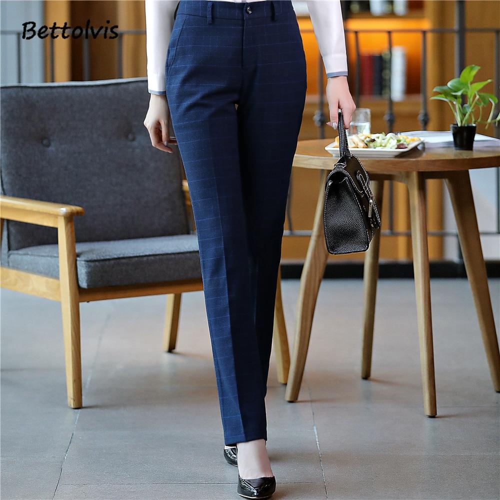 2018 Full length professional business Formal pants women trousers girls slim female work wear Office Lady plaid design pants