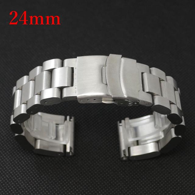 Cor da Faixa de Relógio de prata de 24mm de Aço Inoxidável com Folding Claps com Safty GD013424