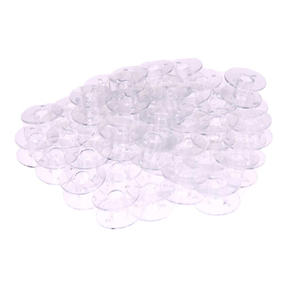 10Pcs Bening Kosong Bobbins Plastik Gulungan untuk Mesin Jahit Benang Jahit Kosong Bobbins Jahit Rumah Aksesoris