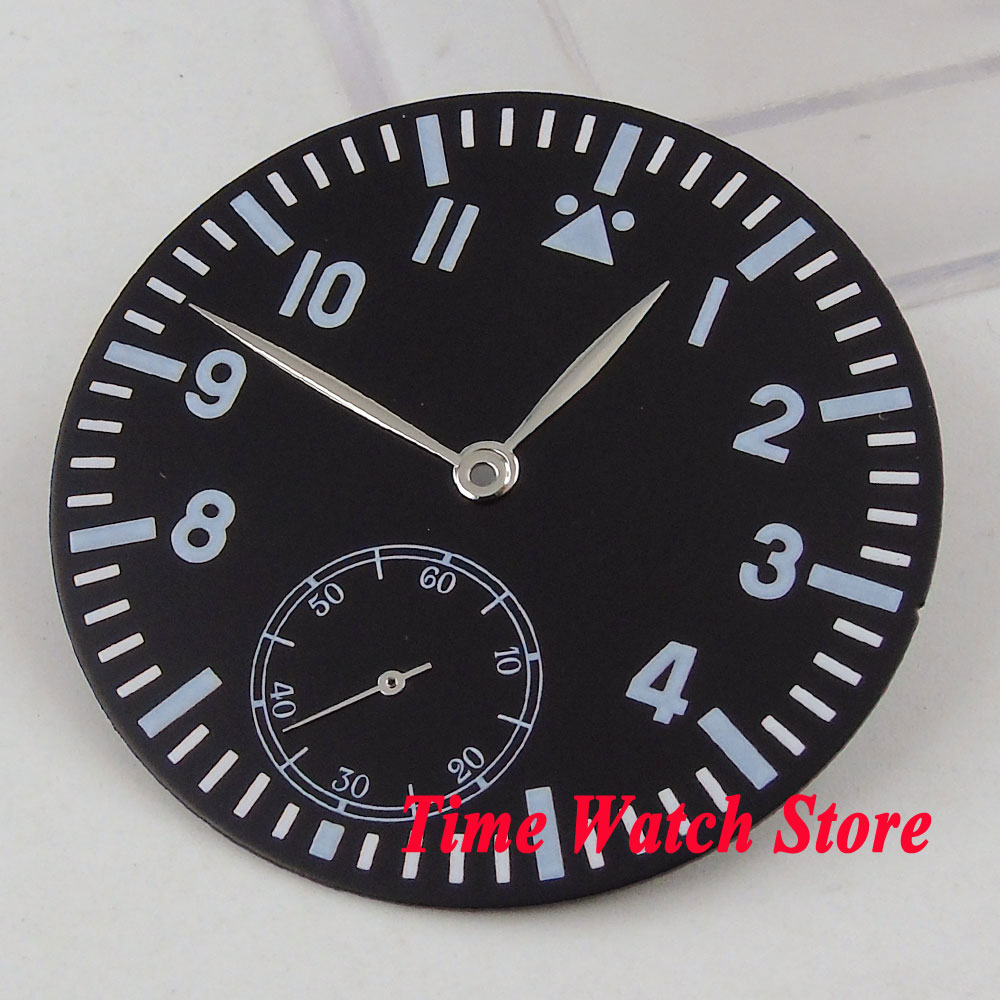 38.9mm black sterial dial super luminous Watch dial fit ETA 6498 <font><b>ST3600</b></font> hand winding movement +silver hands D107 image