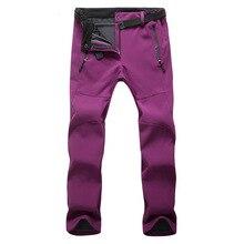 Winter Women Outdoor Hiking Pants Fleece Climbing Thermal Pant Waterproof Softshell Mujer Camping Sports Pant Ski Fishing Pants