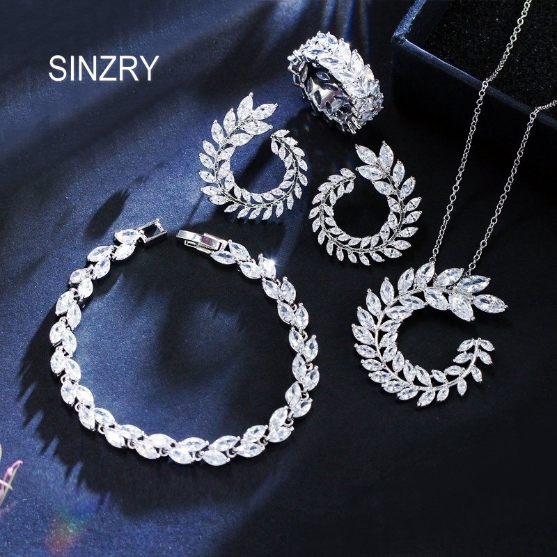 SINZRY 2018 gorgous elegant bridal jewelry set cubic Zirconia leaf design Pendant Necklace Earring bracelet ring Jewelry setsSINZRY 2018 gorgous elegant bridal jewelry set cubic Zirconia leaf design Pendant Necklace Earring bracelet ring Jewelry sets