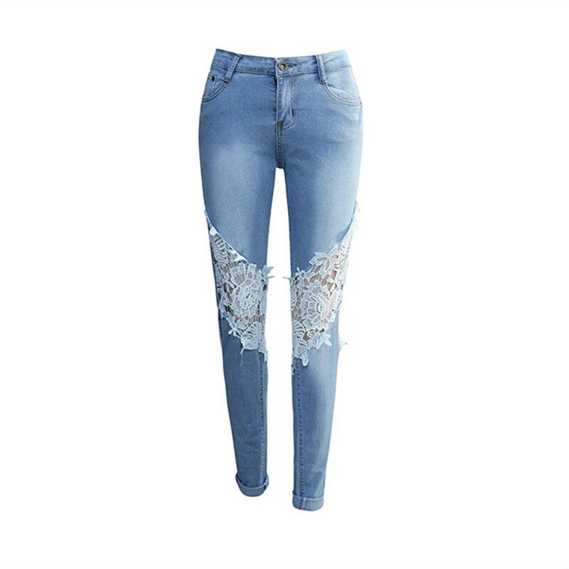 ᗜ Ljഃ2018 primavera nueva moda elástico azul claro Jeans Mujer ...
