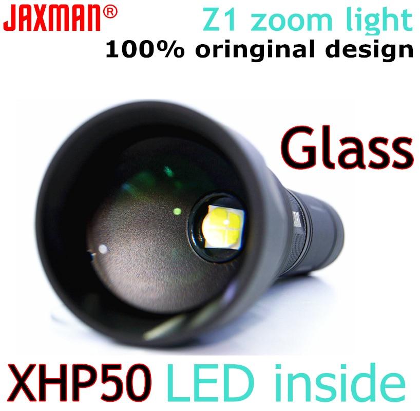JAXMAN Z1 Turning Optical Zoom Flashlight AR Coating Glass Lens CREE XHP50 26650 Flashlight free shipping