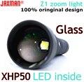 JAXMAN Z1 Turning Optical Zoom Flashlight Torch with AR Coating Glass Lense CREE XHP50 26650 LED