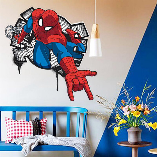 Charming 3D Cartoon Spiderman Wall Decals Removable PVC Wall Stickers Mural For Kids  Room Bedroom Home