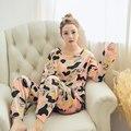 2016 inverno de manga comprida de seda leite sleepwear conjunto pijama mulheres camuflagem Meninas simples solto roupas homewear frete grátis