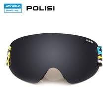 POLISI UV Protection Anti-Fog Winter Snowboard Skiing Glasses Double Layer Lens Gafas Motocross Off Road Goggles  Sports Eyewear