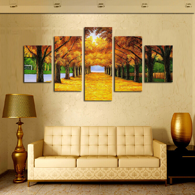 5 Panels Nature Yellow Golden Trees Canvas Print Painting Home Decor ...