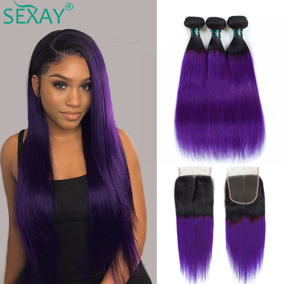 SEXAY Purple Brazilian Hair Weave Bundles Pre Colored Two Tone Straight Hair Extensions Ombre Human Hair Bundles With Closure